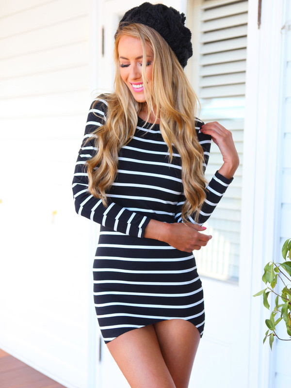 dress mini dress curve hem stripes black white dress bodycon long sleeve dress monochrome