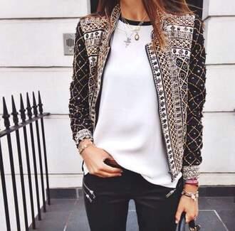 jacket beaded blazer gold black