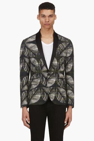 leaf clothes green print jacket menswear outerwear tokyo blazer