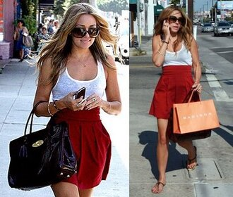 skirt lauren conrad red skater skirt high waisted high waist skirts