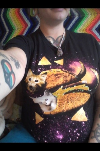 shirt taco t-shirt top grunge punk alternative cats galaxy print