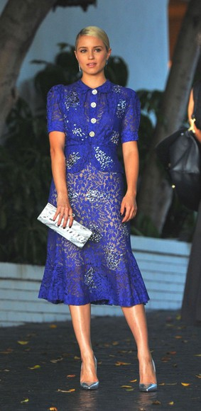dress lace dress dianna agron blue