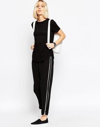 pants sweatpants sporty casual stripes black lazy day flowy