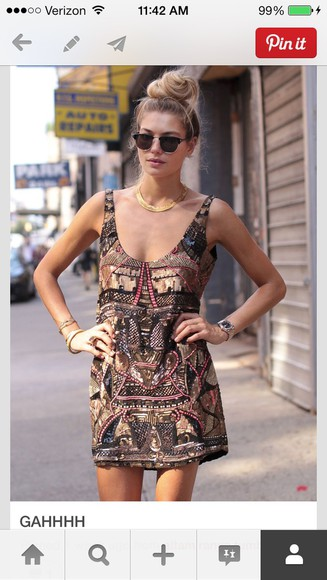 dress brown dress sequin dress sunglasses bracelets watch necklace jewels