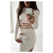 dress,bag,jewels,all white everything,white dress,bodycon,top,white,beige dress,bomb,birthday dress,tight,skirt,bandage dress,cut-out dress,midriff,sexy,grey,strappy,bodycon dress,crop tops,white top,long sleeves,long sleeve crop top