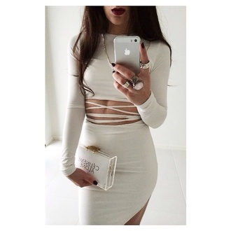 dress bag jewels all white everything white dress bodycon top white beige dress bomb birthday dress tight skirt bandage dress cut-out dress midriff sexy grey strappy bodycon dress crop tops white top long sleeves long sleeve crop top