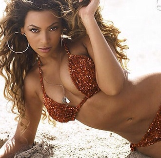 swimwear beyonce sequin swimwear bronze bikini
