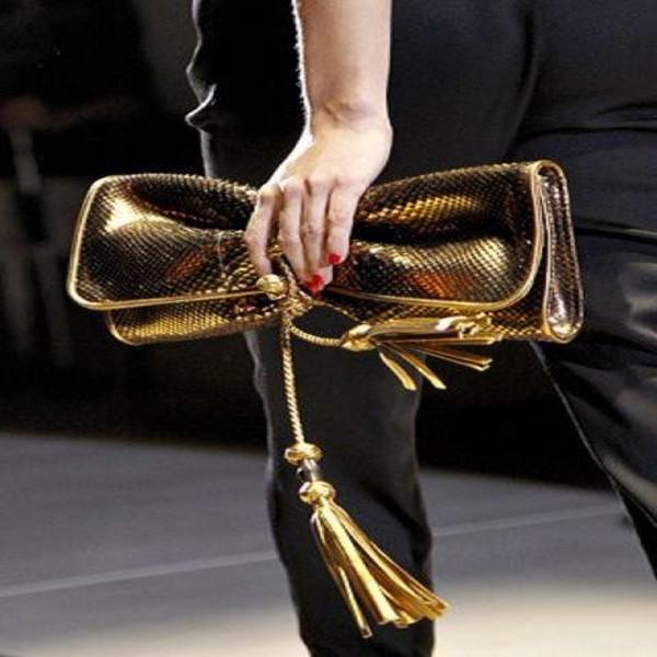 bag clutch metallic clutch gold clutch nail polish tassel