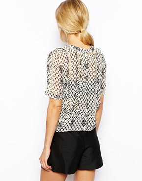ASOS | ASOS Mono Floral Lace Insert Top at ASOS