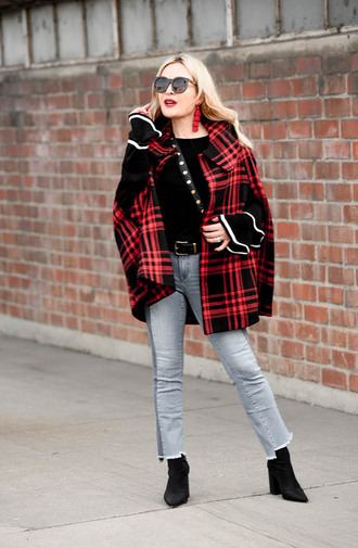 thehuntercollector blogger sweater jeans bag shoes jewels bell sleeves cape boots winter outfits