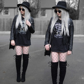 sammi jackson,blogger,sunglasses,jacket,t-shirt,belt,bag,tights,shoes,goth,street goth,jack daniel's,black leather jacket,over the knee boots,boots,black hat,all black everything