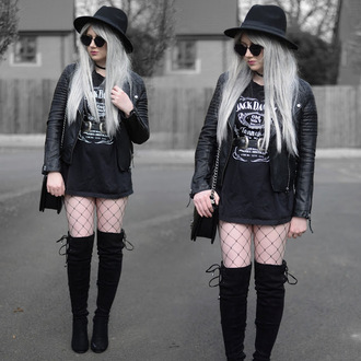 sammi jackson blogger sunglasses jacket t-shirt belt bag tights shoes goth street goth jack daniel's black leather jacket over the knee boots boots black hat all black everything