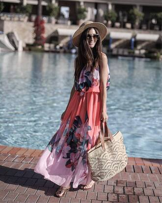 dress hat floral floral dress maxi dress floral maxi dress bag tote bag sunglasses sun hat ted baker