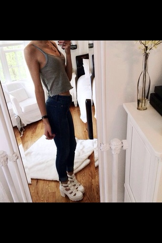 shoes sandles jeans grey tank top top singlet chunky white heels sandals sandals platform sandals heels strappy chunky heels necklace tumbkr white chunky sandals hipster white platform shoes white shoes white heels