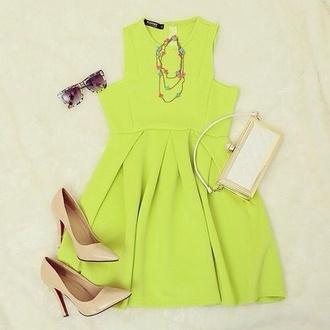 dress yellow dress summer dress pretty louboutin fashion necklace wallet