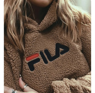 sweater fila fluffy soft brown