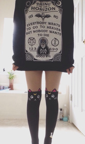 socks,grunge,cats,knee high socks,sailor moon,black socks,soft grunge,bring me the horizon,band merch,kawaii grunge,kawaii accessory,sweater,cute socks,sweatshirt