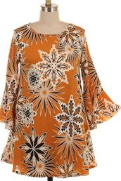 blouse,mustard,geo,flowers,tunic,bell sleeves