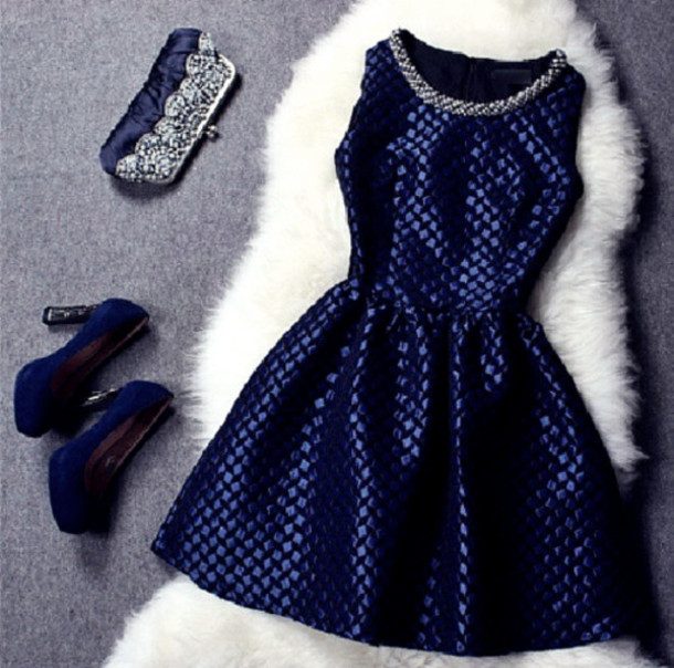 dress blue short dress