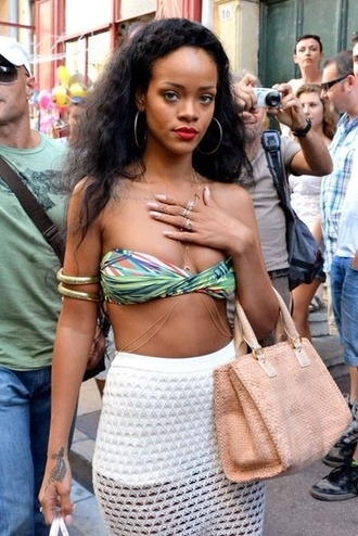 swimwear rihanna bikini jewels skirt mesh white see through holes rihanna jewelry rihanna style body chain gold body chain jewelry