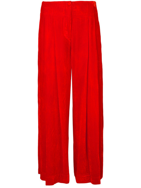 Raquel Allegra pants cropped pants cropped women silk yellow orange