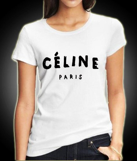 New Celine Paris Logo Chanel Women White T Shirt Tee Clw1