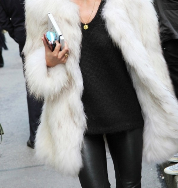 Coat: white, fluffy, fur, faux, faux fur, faux fur jacket, fur ...