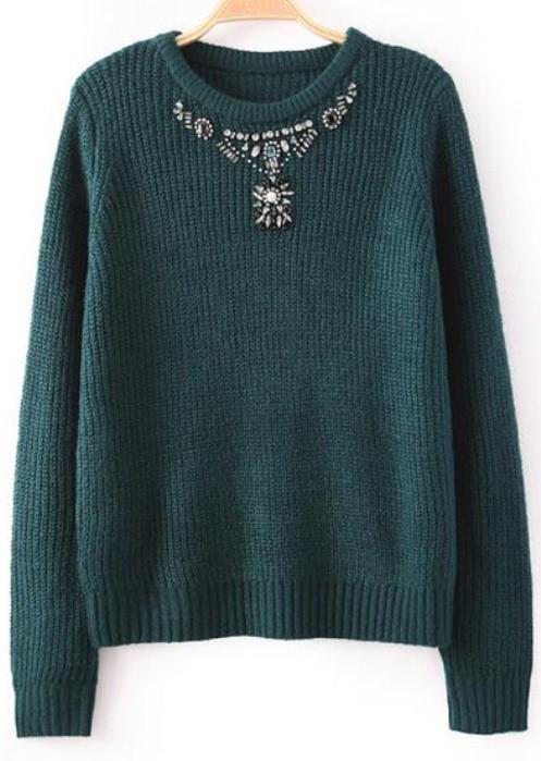 Green beaded knit sweater