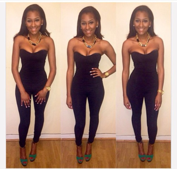 024edb8d4905 jumpsuit black strapless tight party outfits romper statement necklace  black high waisted pants