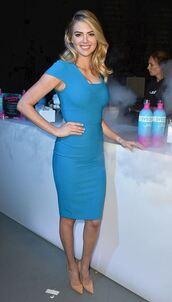 dress,midi dress,blue,blue dress,kate upton,pumps