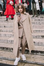 coat,all beige everything,beige coat,miroslava duma,streetstyle,beige,blazer,pants,beige pants,sneakers,nude sneakers,matching set,power suit,two piece pantsuits