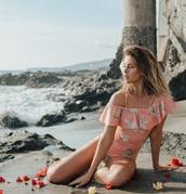 swimwear,girly,girl,girly wishlist,one piece swimsuit,one piece,off the shoulder,off the shoulder bikini,floral