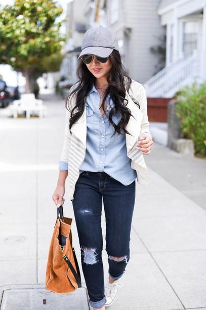 the fancy pants report blogger jacket jeans bag sunglasses