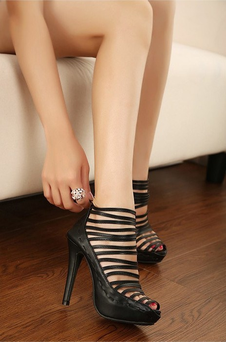 New Black Hollow Out PU Upper High Heels Platform Women Pumps