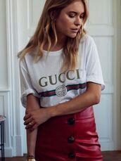 t-shirt,gucci t-shirt,shirt,red skirt,leather,leather skirt,red leather,red nails,skirt,white t-shirt,gucci,gold rings designs