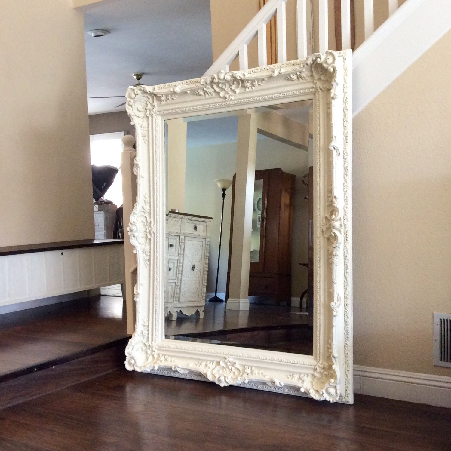 gorgeous ornate mirror for sale large white mirror shabby chic wall mirror nursery decor. Black Bedroom Furniture Sets. Home Design Ideas