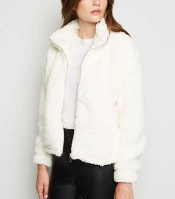Off White High Neck Teddy Jacket   New Look