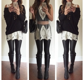 sweater black shirt black boots black heels black t-shirt black top style fashion fall sweater fall outfits fall blouse black off the shoulder