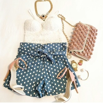 polka dots laced shirt