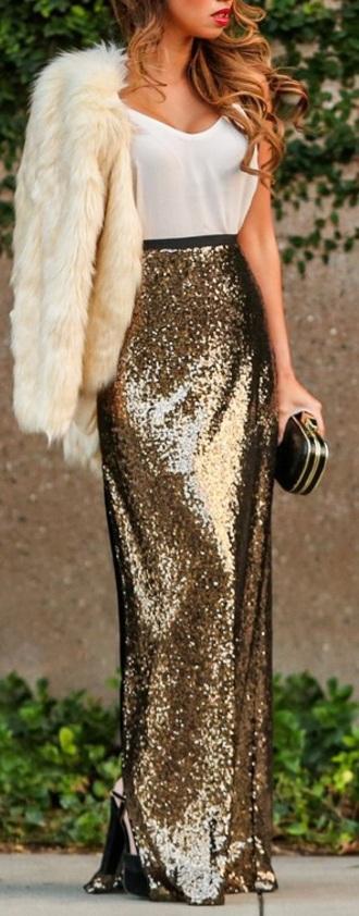 skirt sequins gold maxi skirt glitter long special occasion dress