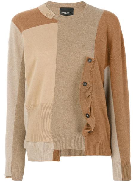 jumper patchwork women wool brown sweater