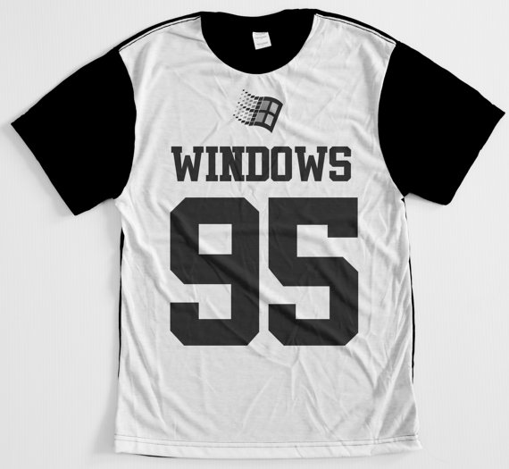 Windows 95 yin and yang internet culture 90s cyber punk jersey T-shirt ($40.00) - Svpply