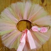 skirt,tutu,tulle skirt,headband,ribbon,net flare