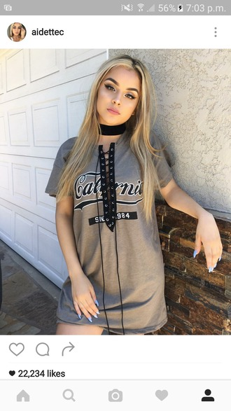 dress lace up top t-shirt dress grey dress