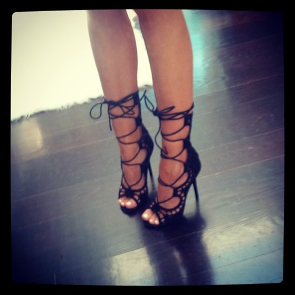 shoes heels black lace up