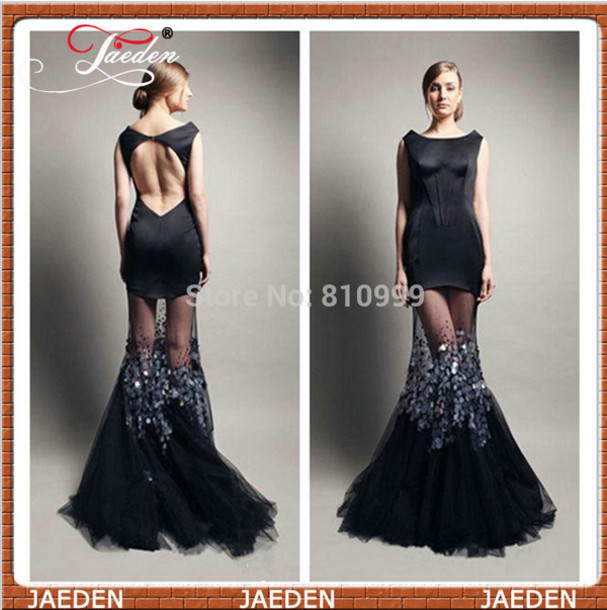 Dress: black dress, open back prom dress, boat neck, sexy prom ...