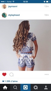 top,romper,blue and white,jumpsuit
