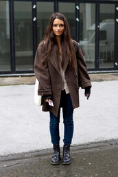 coat,brown,winter coat,brunette,shoes,combat boots,flat boots,boots,lovely,big coat,winter outfits,warm colors