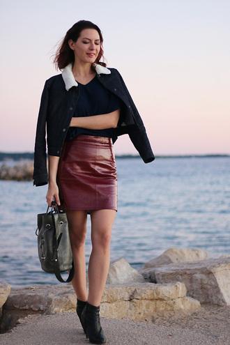 estelle blog mode blogger leather skirt bucket bag