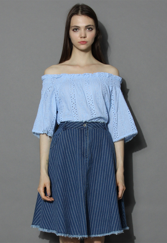 top eyelet embroidered off-shoulder top in blue chicwish off the shoulder top blue top embroidered top chicwish.com